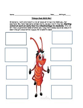 """Things That I Love!"" & ""Things That Bug Me!"" Argument Essay Idea Generator CCSS"