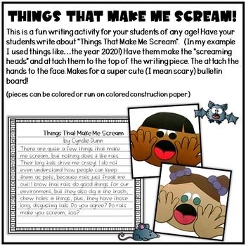 Things That Make Me Scream Halloween Writing