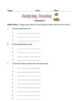 Things To Analyze When Choosing Housing Lesson