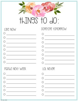 Floral Things To Do List by Hello Tennessee Teacher | TpT