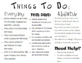 Things To Do Student Handout