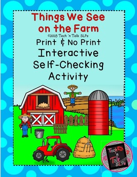 Things We See on the Farm - Interactive Self-Checking Activity
