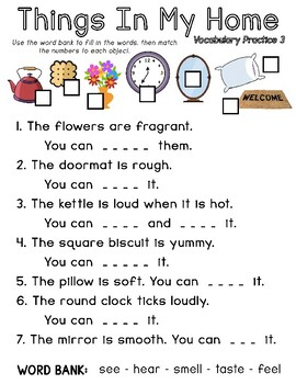 Things in My Home - Senses Vocabulary Worksheet