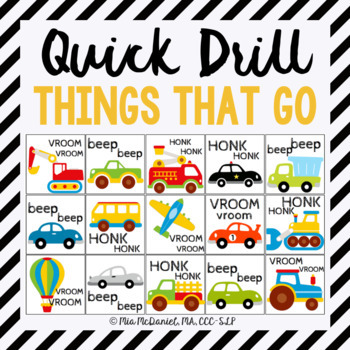 Things that GO Quick Drill! {for articulation or fluency therapy & RtI}