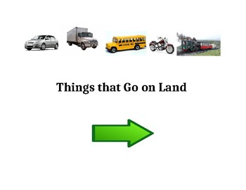 Things that Go on Land (Adapted Book Printable)