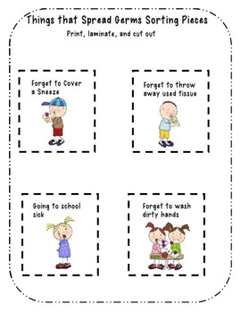 Things that Spread Germs and Things that Stop Germs Sorting activity