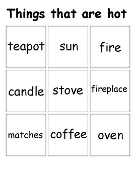 Things that are Hot. Things that are cold. Matching Activity