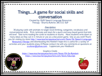 Things that...game for vocabulary and conversational skills