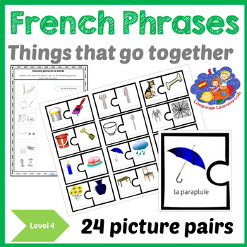 French Immersion Things that go together -Picture Resource - Vocabulary&Phrases