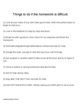Things to Do if Homework is Difficult