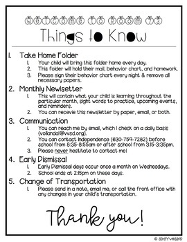Things to Know Letter | Editable