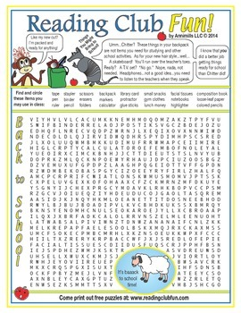 Things to Pack for Back to School Word Search Puzzle