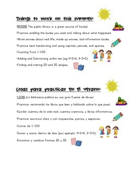 Things to Work on This Summer in English and Spanish: K to 1st