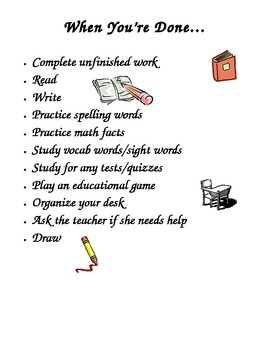 Things to do When You're Done - for students