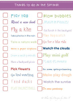 Things to do in the Springtime! Bucket List