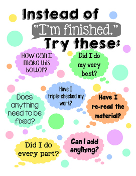 Things to say instead of I'm finished Printable Poster