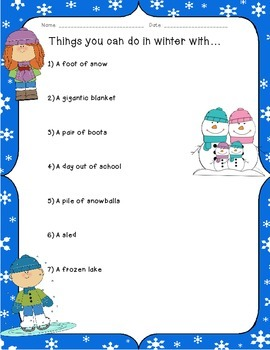 Things you can do in winter with... Writing Warm-up!