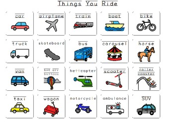 Things you ride Vocabulary board