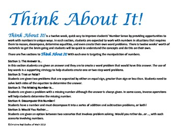 Think About It! A 12 week series of Number Sense Problems!