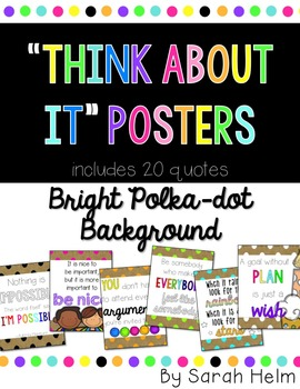 """Think About It"" Posters {Bright Polka-dots}"