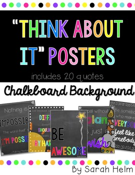 """Think About It"" Posters {Chalkboard Background}"