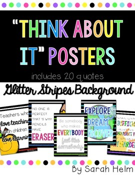 """Think About It"" Posters {Glitter Stripes Background}"