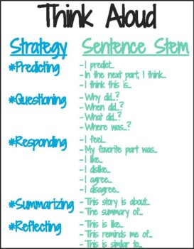 Think Aloud Anchor Chart Sentence Stems by Teach for ...