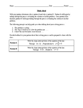 Think Aloud:  Writing Equations with Point and Slope