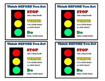 Think Before You Act Stop Light Visual Support