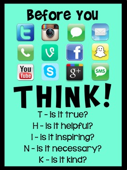 'Think Before You Post' Classroom Poster - Blue