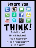 'Think Before You Post' Classroom Poster