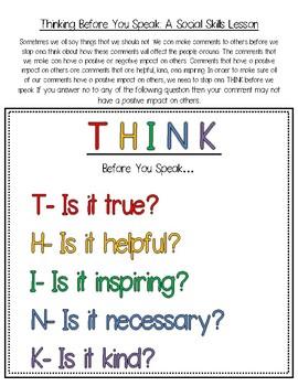 Think Before You Speak Activity- Social Skills
