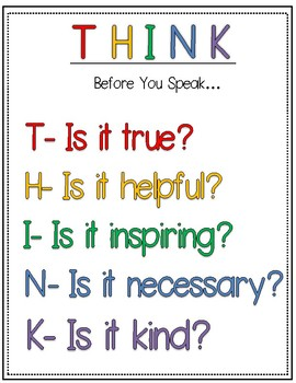 Think Before You Speak Activity- Social Skills