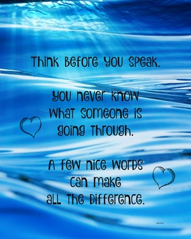 Think Before You Speak Classroom Poster Classroom Management