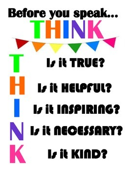 Think Before You Speak- Classroom Printable