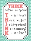 Think Before You Speak Classroom Printable