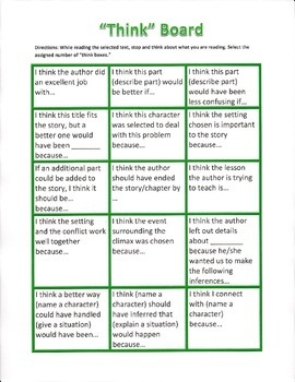 Think Boards: Engaging with the Text at Hand
