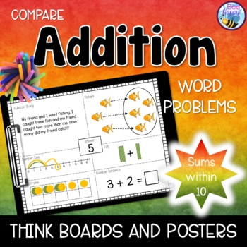 Addition Word Problems - Think Boards - Compare - Sums within 10