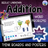 Addition Word Problems Result Unknown Think Boards Sums within 10