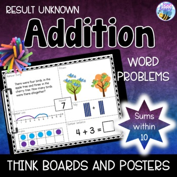 Addition Word Problems - Think Boards - Result Unknown - S