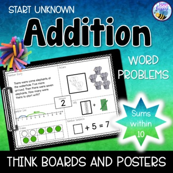 Addition Word Problems - Think Boards - Start Unknown - Su