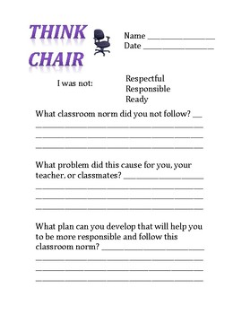Think Chair: Classroom Management Individually-Based Behavioral Management Tool