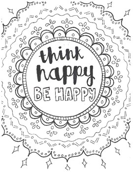 Think Happy Be Happy Coloring Page by Miss Zilch | TpT
