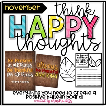 Think Happy Thoughts Bulletin Board Kit- November- Thankful Quotes