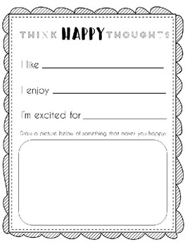 Think Happy Thoughts Workbook Activity Page