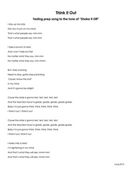 Think It Out - A test prep song to the tune of Shake It Off