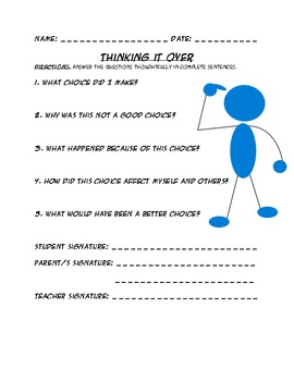 Think It Over- Discipline Worksheet