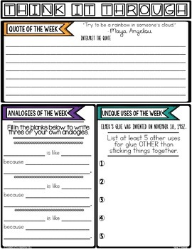 Think It Through:Weekly Activities for Creative, Critical, & Reflective Thinking