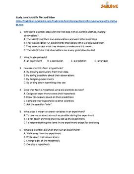 Think Like a Scientist Video Worksheet
