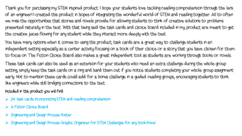 Think Like an Engineer STEM inspired Reading Comprehension Task Cards